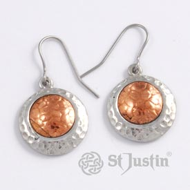 St Justin Earrings - Copper Offset Disc