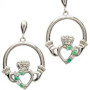 shanore_claddagh_sterling_silver_cubic_zirconia_earrings